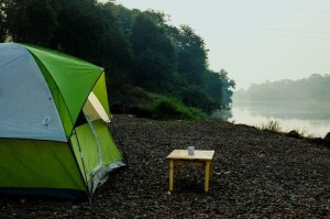 Coffee by the misty river